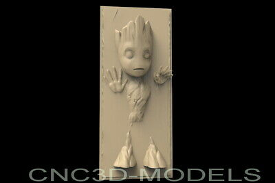 3D STL Model for CNC Router Carving Engraver Artcam Aspire Usa Baby Groot.D181 2