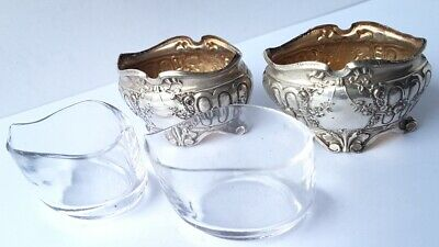 2 Salzgefäße con Cristal de Vidrio 2 Cuchara para Sal Plateado Francia Um 1900 5