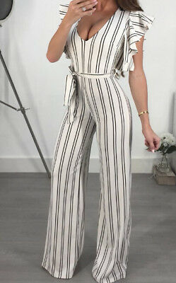 Womens Boho Stripe Holiday V Neck Boho Jumpsuit Playsuit Summer Culotte Size 6-1 3