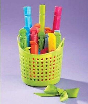 Keep Fresh Food Bag Clips w/ Magnetic Basket Set of 18 Clips Multiple Sizes 3