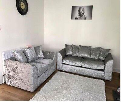 *Sale* Crushed Velvet Silver Original Glitz Chicago Corner Sofa 32 Seater Swivel 5
