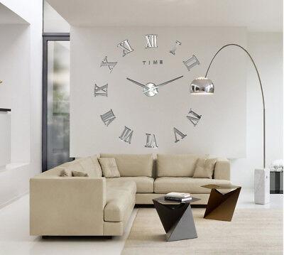 DIY 3D Wall Clock Roman Numerals Large Mirrors Surface Luxury Big Art Clock 11