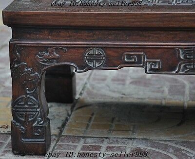 """24"""" Old Chinese Huanghuali Wood Hand Carved""""福""""Text Bat Ancient tables Book Desk 11"""