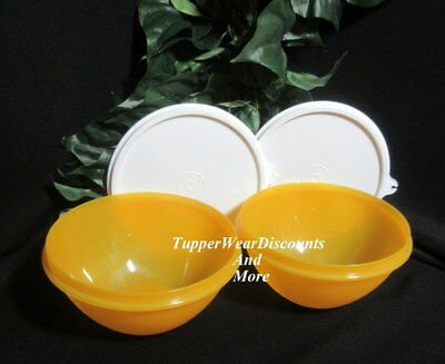 Tupperware New Set of 2 Small 3 Cup Wonderlier Bowls Goldenberry w White Seals 3