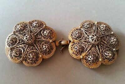 SUPERB ANTIQUE OTTOMAN GOLD PLATED hand-knitted SILVER filigree belt buckle XIXc 4