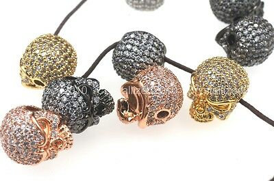 Zircon Gemstones Pave Solid Round Drilled Skull Bracelet Connector Charm Beads 3
