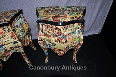 Pair Funky Comic Print Chests of Drawers Deco Commode Bombe 5