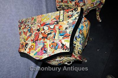 Pair Funky Comic Print Chests of Drawers Deco Commode Bombe 6 • £950.00
