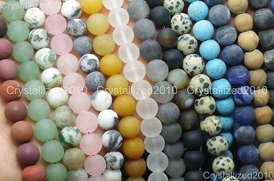 Wholesale Matte Frosted Natural Gemstone Round Loose Beads 4mm 6mm 8mm 10mm 12mm 6