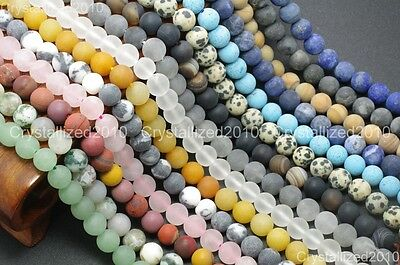Wholesale Matte Frosted Natural Gemstone Round Loose Beads 4mm 6mm 8mm 10mm 12mm 5