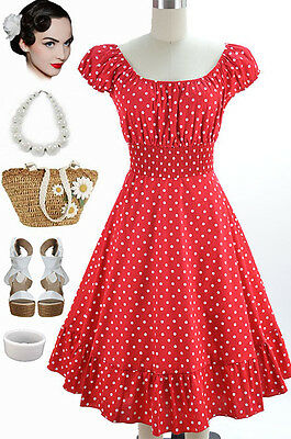 50S STYLE RED & White POLKA Dot PLUS SIZE Peasant Top On/Off ...