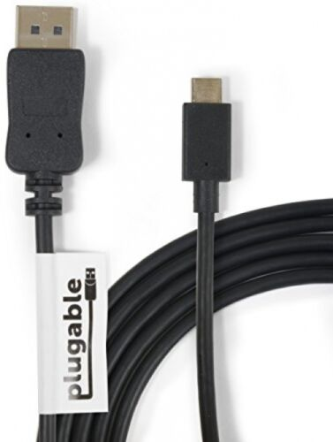 Plugable USB-C To DisplayPort Adapter Cable (6'/1.8m) For 2016 MacBook Pro, / 3 4