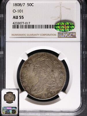 1808/7 Bust Half Dollar CAC Sticker NGC AU55 CAC Sticker 0-101 R.1 3