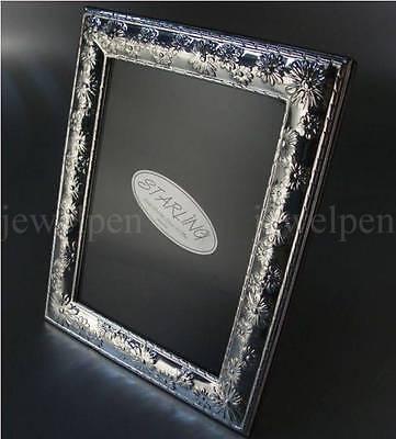 Margeritenblüten-Sterling Silber 925 Ag-Fotorahmen Bilderrahmen Echtholzrücken