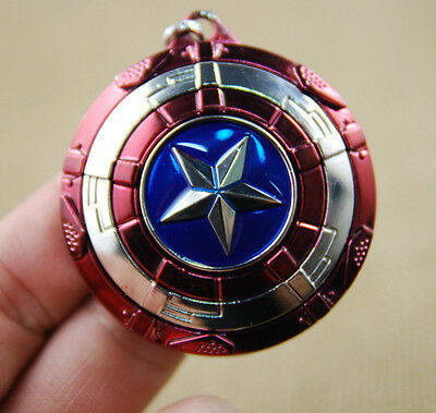 US! The Avengers Captain America Shield Keyring Rotatable Star Alloy Keychain 3