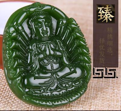 China 100% natural Nephrite hetian jade Thousands Hands Guanyin green pendant 4