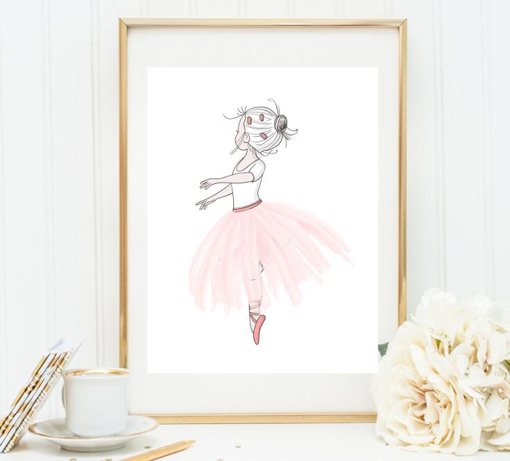 Ballerina Personalised Name Nursery Prints Set Baby Girl Bedroom Art 3 Pictures 2