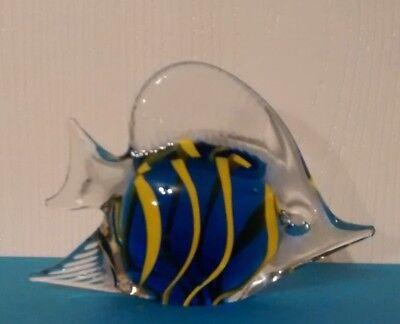 Hand Blown Art Glass Tropical Fish Paperweight Figurine, Blue w/Yellow Stripes 2