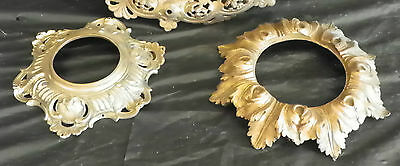 3 Cast Bronze Rings (2 Pierced And 1 W/acanthus Leafs) 4893 2