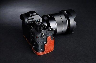 Handmade Genuine real Leather Half Camera Case bag cover for Sony A7 A7R II A7S M2 Mark II Mark II Black color