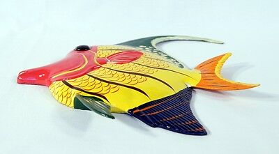 "Hand Painted 15/"" Tropical Fish Wall Mount Decor Sculpture Blue Yellow Top 76A-2"