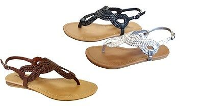 345fffeb9 1 of 2 New Womens  Braided Roman Gladiator Flat Sandal T-Strap Thong Sandals --(