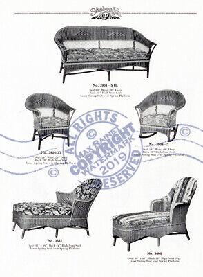 Sheboygan Fiber Furniture 1937 CATALOG Wicker Rattan Upholstered Chairs + Settee 4
