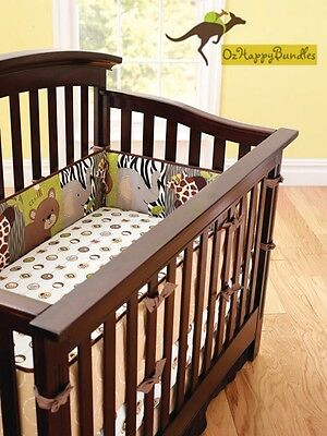 New Baby Boys 7 Pieces Cotton Nursery Bedding Crib Cot Sets-Jungle Animals Brown