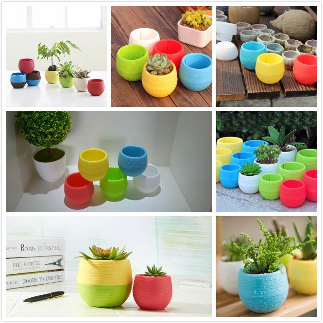 Cute Mini Plastic Flower Pot Succulent Plant Flowerpot Fr Home Office Room Decor 5