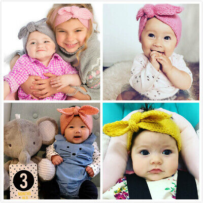 Knitted Baby Toddler Girls Kids Bow Knot Turban Headband HairBand Headwrap 0-3yr 2