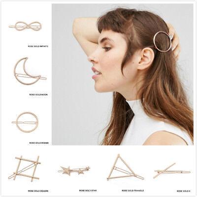 Women's Girls Geometric Metal Hair Clips Barrette Slide Grips Hair Clip Hairpins 4