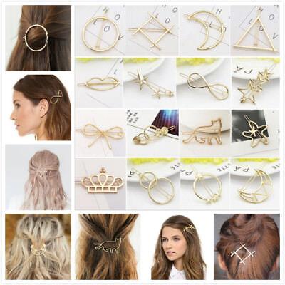 Women's Girls Geometric Metal Hair Clips Barrette Slide Grips Hair Clip Hairpins 2