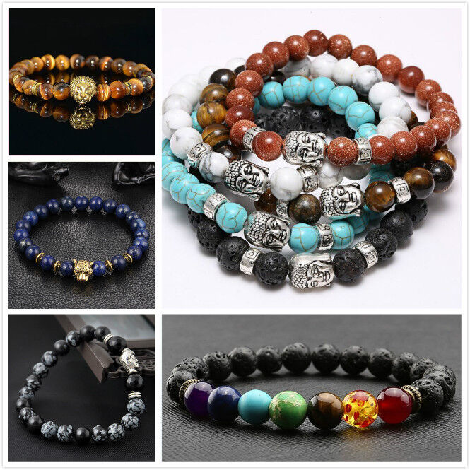 Men Women Natural Gemstone Beads Lava Rock Stone Bracelet Lion/Buddha Head Bead 2
