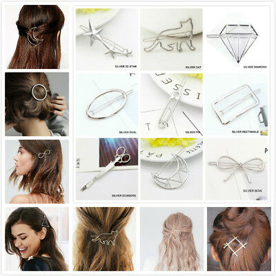 Women's Girls Geometric Metal Hair Clips Barrette Slide Grips Hair Clip Hairpins 3