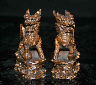 "4"" Old Chinese Boxwood Wood Carving Dragon Qilin Beast Wealth Lucky Statue Pair 6"