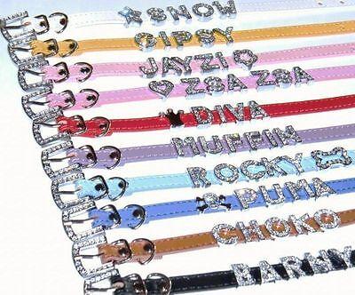 Katzenhalsband XS mit Strass Namen Katzen Halsband Buchstaben Name in 10 Farben