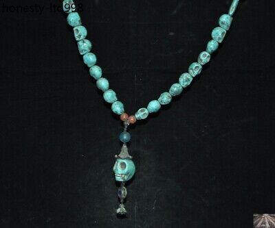 Tibet Turquoise carved Skeleton Devil Skull death-head Exorcism amulet Necklace 3