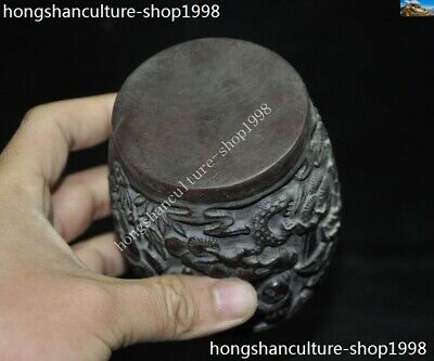 Marked Chinese Dynasty Ox horn Carved Pine tree Old Man Drum shape Box Boxes 10