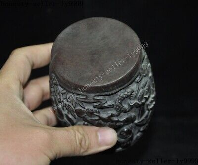 """4""""Collect Rare China Chinese Old Ox Horn Carved Pine Tree man boy Drum Box Boxes 10"""