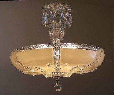 358 40's Vintage Antique Ceiling Light Lamp Fixture Glass Chandelier Re-Wired 5