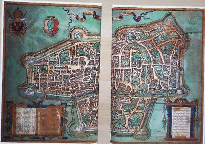 Old Antique Historic Map Augsburg Germany: 1563 Braun & Hogenberg REPRINT 1500's 9