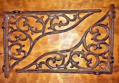 "SET OF 2 LARGE VICTORIAN VINE SHELF BRACKET BRACE Antique Brown Cast Iron 11"" 3"