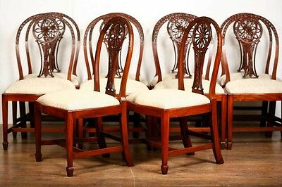 10 Mahogany Hepplewhite Dining Chairs Carved Wheel Back