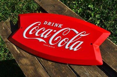 Coca-Cola Arciform Embossed Tin Metal Sign - Fishtail - Retro - Coke