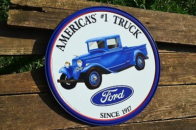 "America/'s #1 Truck Ford Since 1917 12/"" ROUND METAL WALL SIGN Garage Mancave"