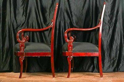 Pair Mahogany French Arm Chairs Charles X Throne 11