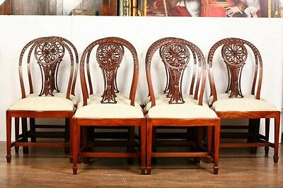 10 Mahogany Hepplewhite Dining Chairs Carved Wheel Back 12