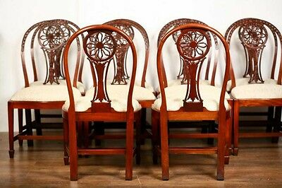 10 Mahogany Hepplewhite Dining Chairs Carved Wheel Back 6