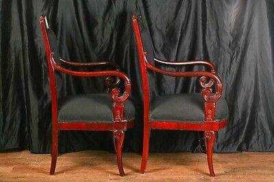 Pair Mahogany French Arm Chairs Charles X Throne 7