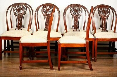 10 Mahogany Hepplewhite Dining Chairs Carved Wheel Back 8